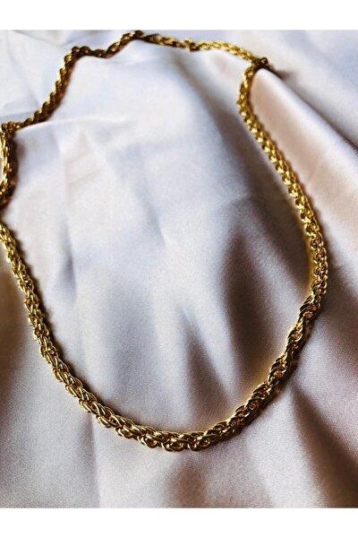 Kadın Gold Renk Çelik Zincir Kolye