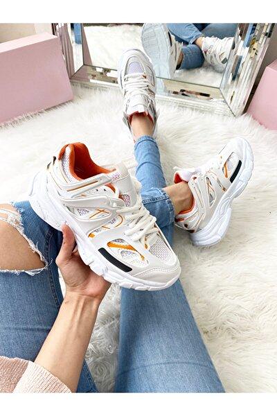 Unısex Beyaz Turuncu Sneaker