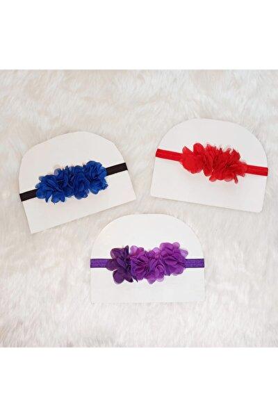 Kız Bebek Renkli Çiçekli Saç Bandı Seti 3'lü