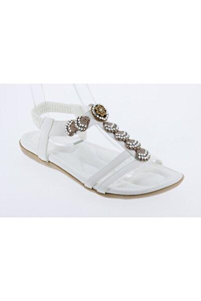 19y250-2 Kadın Beyaz Sandalet