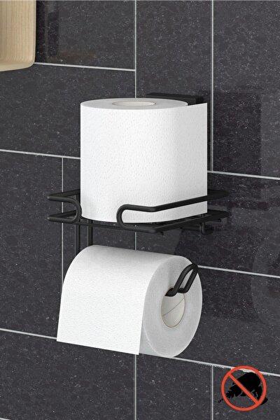 Delme Vida Matkap Yok! Easyfıx Yapışkanlı Yedekli Tuvalet Kağıtlık Mat Siyah Ef275