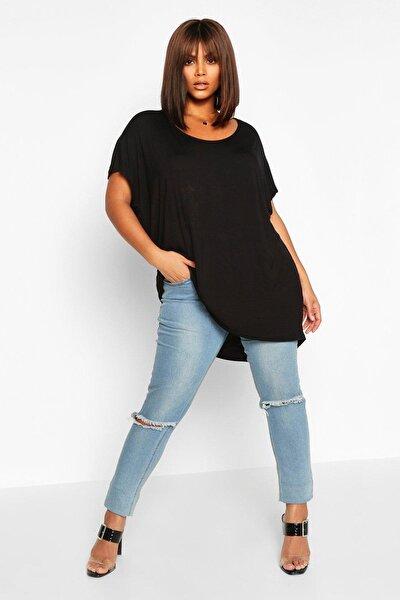 Büyük Beden Yuvarlak Geniş Yaka Siyah Kadın Bluz Tişört