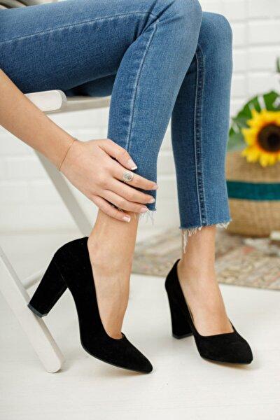 Kadın Siyah Süet Yüksek Kalın Topuklu Ayakkabı