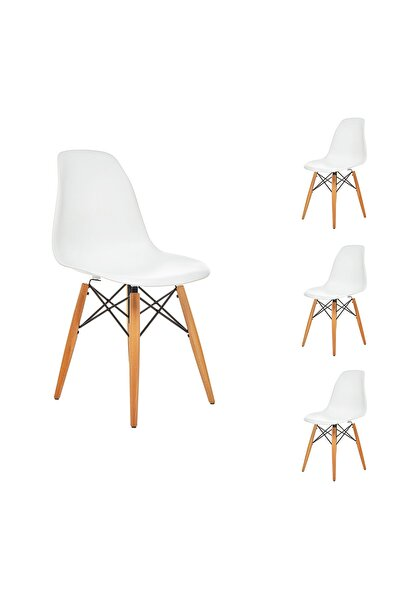 Beyaz Eames Sandalye Natural Ahşap Ayaklı   4 Adet