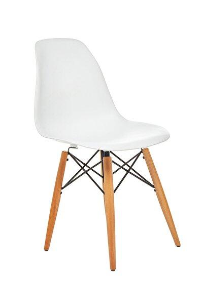 Beyaz Eames Sandalye - Natural Ahşap Ayaklı
