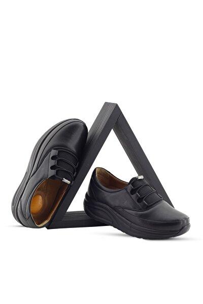 Kadın Siyah Ortopedik Topuk Dikeni Hafif Yürüyüş Ayakkabısı