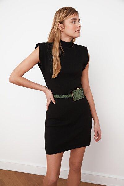 Siyah Dik Yaka Triko Elbise TWOSS21EL0237