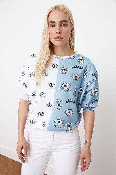 Mavi Renk Bloklu Baskılı Örme Sweatshirt TWOAW21SW1251