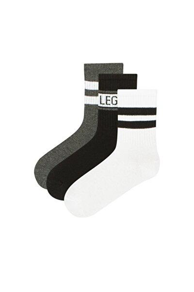 Erkek Çocuk Beyaz  Little Legend Soket Çorap 3'lü