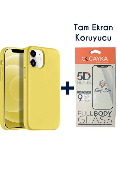 Iphone 12 Kılıf Lansman Içi Süet Silikon Sarı + Full Ekran Koruyucu 5d
