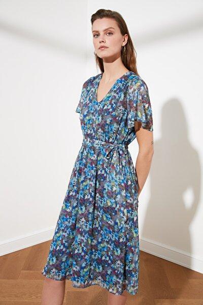 Çok Renkli  Kuşaklı Elbise TWOSS21EL0352