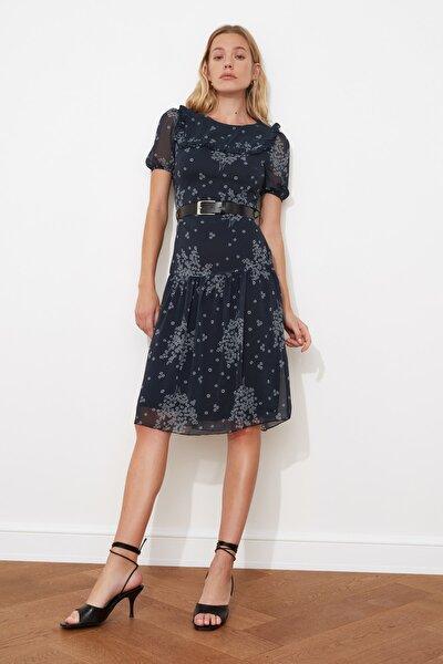 Çok Renkli Kemerli Desenli Elbise TWOSS21EL0518