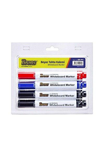 Doldurulabilir Beyaz Tahta Kalemi 4 Lü Set (BR-991)