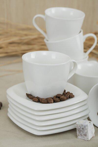 Lüx Porselen Düz Beyaz 6 Kişilik Çay, Nescafe Fincan Takımı