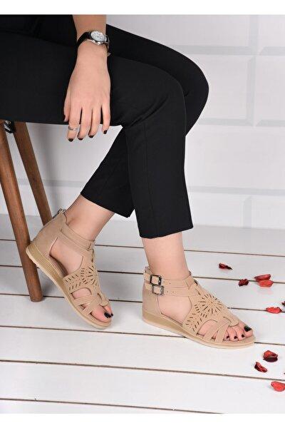 Kadın Krem Süet Bilek Bağlamalı Sandalet Terlik Ba19084