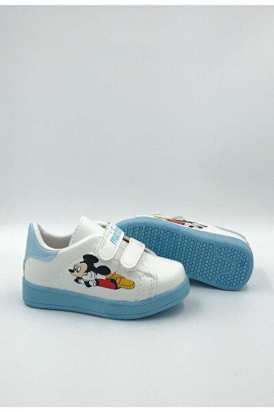 Unisex Çocuk Beyaz Mavi Günlük Cırtlı Spor Ayakkabı