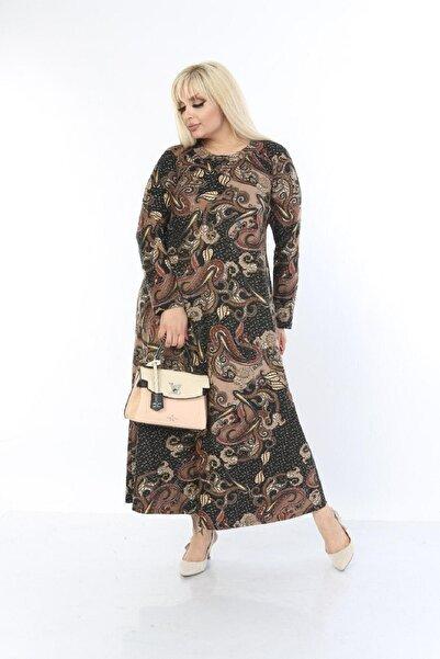 Kadın Kahverengi Büyük Beden Yaka Pervazlı Elbise
