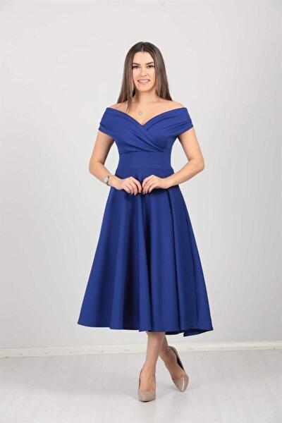 Kayık Yaka Midi Elbise - Saks Mavisi
