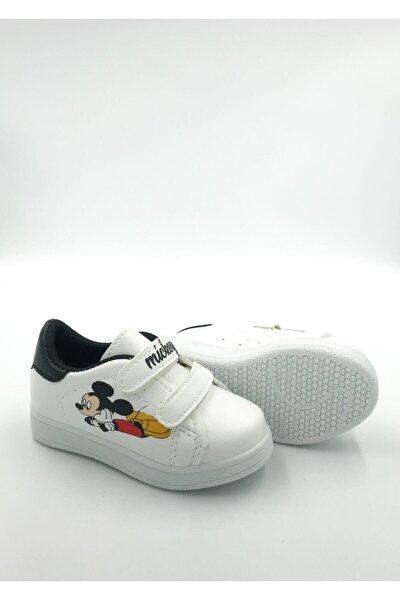 Efl Beyaz-siyah Çocuk Mc Spor Sneaker Günlük Cırtlı Spor Ayakkabı.