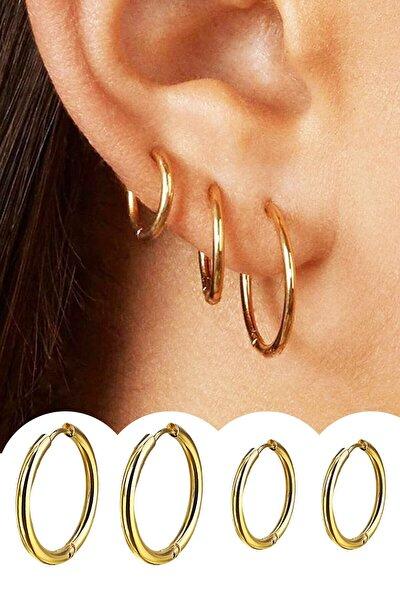 Kadın Gold Renk Cerrahi Çelik Halka Küpe 4 Adet