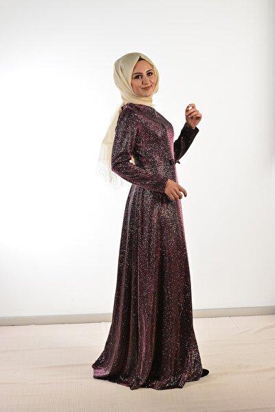 Kadın Mürdüm Simli Alisa Elbise