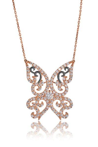 Kadın Rose Kelebek Larus  Gümüş Kolye