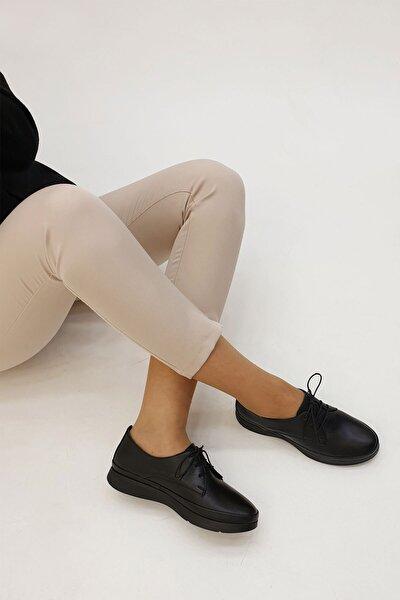 Kadın Siyah Hakiki Deri Comfort Ayakkabı Porvez
