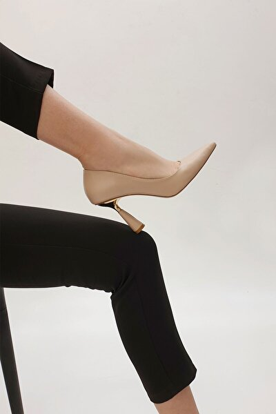 Kadın Bej Stiletto Topuklu Ayakkabı Estor