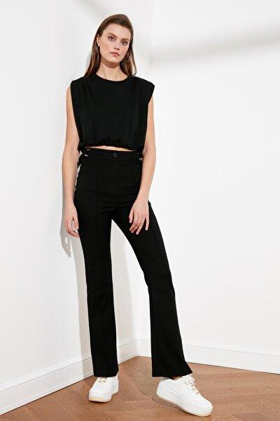 Siyah Yüksek Bel D Tokalı Pantolon TWOSS21PL0214
