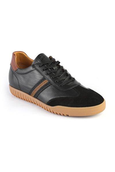 Erkek Siyah Hakiki Deri Bağcıklı Yürüyüş Ayakkabısı