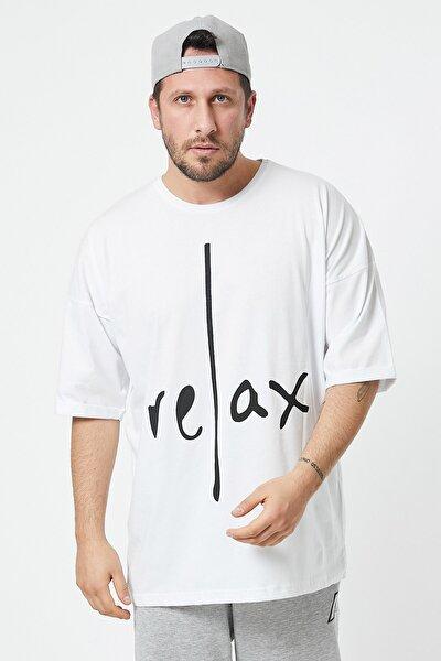 Beyaz Baskılı Oversize T-shirt 1kxe1-44584-01