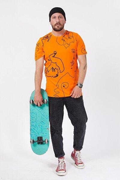 Turuncu Desenli T-shirt 1kxe1-44587-11