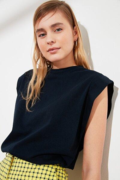 Lacivert Kolsuz Basic Örme T-Shirt TWOSS20TS0021