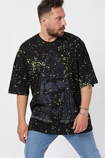 Siyah Baskılı Boyalı Oversize T-shirt 1kxe1-44596-02