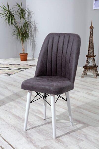 2 Adet Ahşap Ayaklı Mutfak Masası Sandalyesi Ahşap Beyaz Ayaklı Antrasit Gri