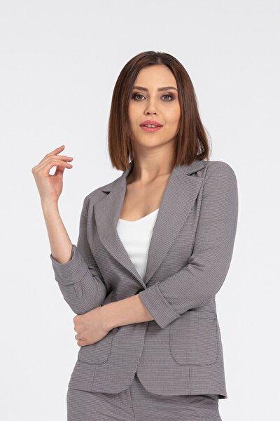 Kadın Desenli Blazer Desenli Cepli Yakalı Düğmeli Ofis Ceket Bej Ekose