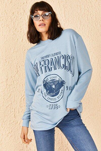 Kadın Baskılı Oversize Sweatshirt