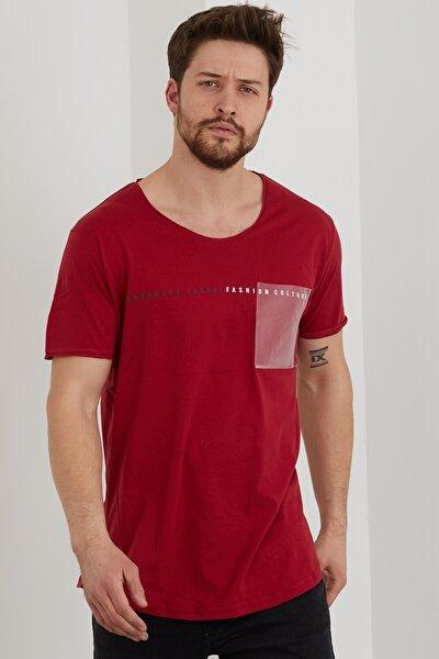 Erkek Kırmızı Cep Detaylı Baskılı Slim Fit T-shirt-ytsl088r04s