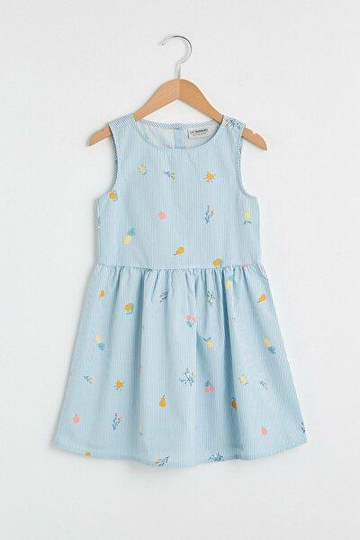 Kız Çocuk Mavi Çizgili Len Elbise