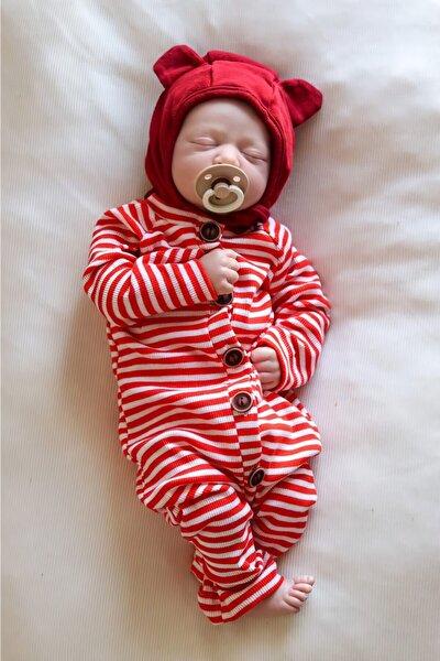 Erkek  Çizgili Kırmızı Kız Bebek Boydan 5 Düğmeli Tulum
