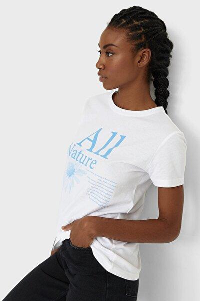 Kadın Beyaz Desenli T-Shirt 02619523