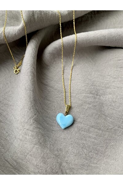 Altın Kaplama 925 Ayar Gümüş El Yapımı Cam Mavi Kalp Kolye
