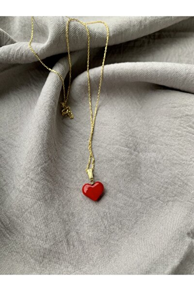 Altın Kaplama 925 Ayar Gümüş El Yapımı Cam Kırmızı Kalp Kolye