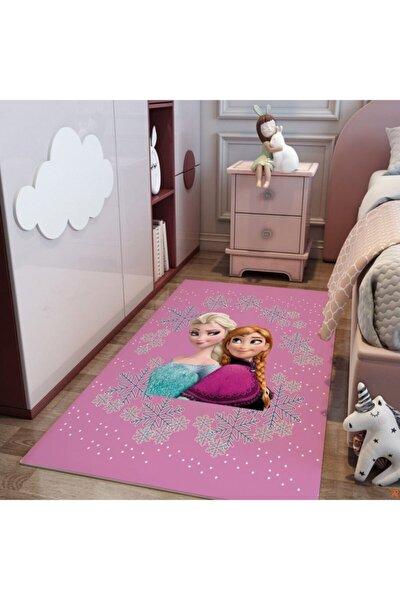 Kız Çocuk  Pembe Anna Ve Elsa Frozen Odası Halı