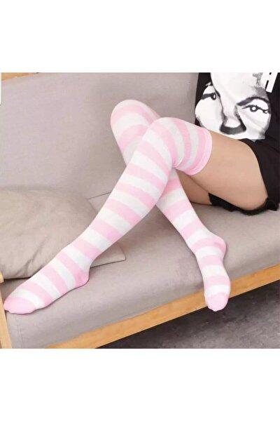 Pembe Beyaz Diz Üstü Çorap