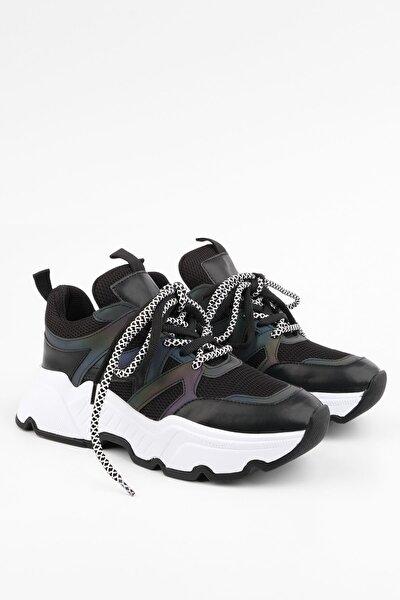 Kadın Siyah Sneaker Dolgu Topuk Spor Ayakkabı Visof