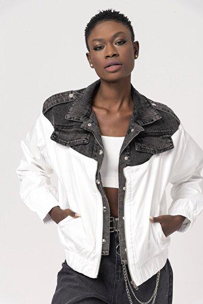 Kadın Beyaz Kumaş Garnili Kot Ceket