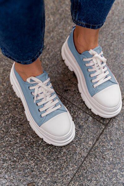 Kadın Mavi Bluetta Keten Yüksek Taban Spor Ayakkabı