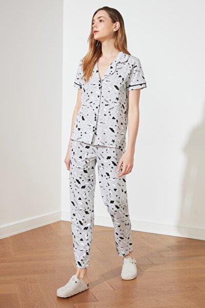Gri Grafik Baskılı Örme Pijama Takımı THMSS19IP0037