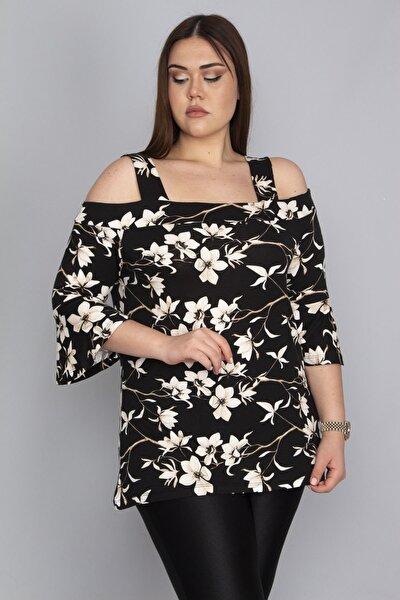 Kadın Siyah Çiçek Desenli Askılı Bluz 65N23079